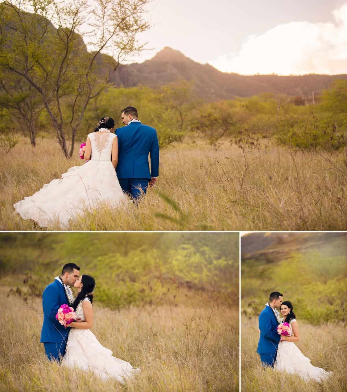 Bride and groom walking through tall grass Makua Hawaii Destination wedding photographer www.benandhopeweddings.com.au