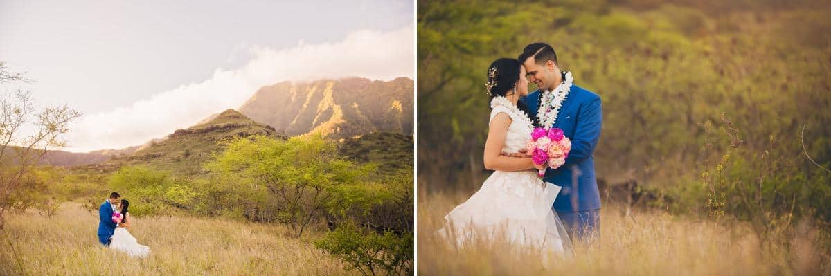 Bride and groom standing in long grass with mountains behind them Hawaii Destination wedding photographer www.benandhopeweddings.com.au