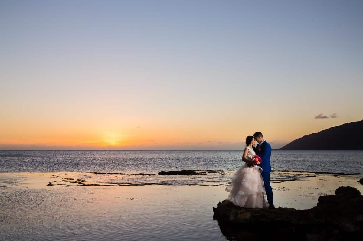Sunset wedding Makua beach oahu Hawaii Destination wedding photographer www.benandhopeweddings.com.au