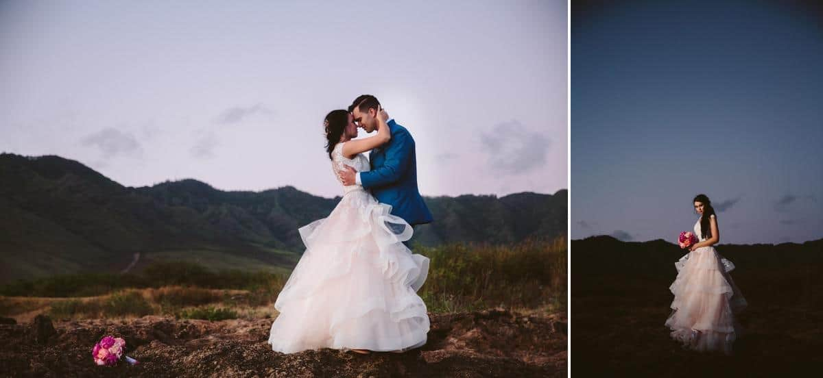 bride and groom standing on lava rock with mountains behind them Hawaii Destination wedding photographer www.benandhopeweddings.com.au