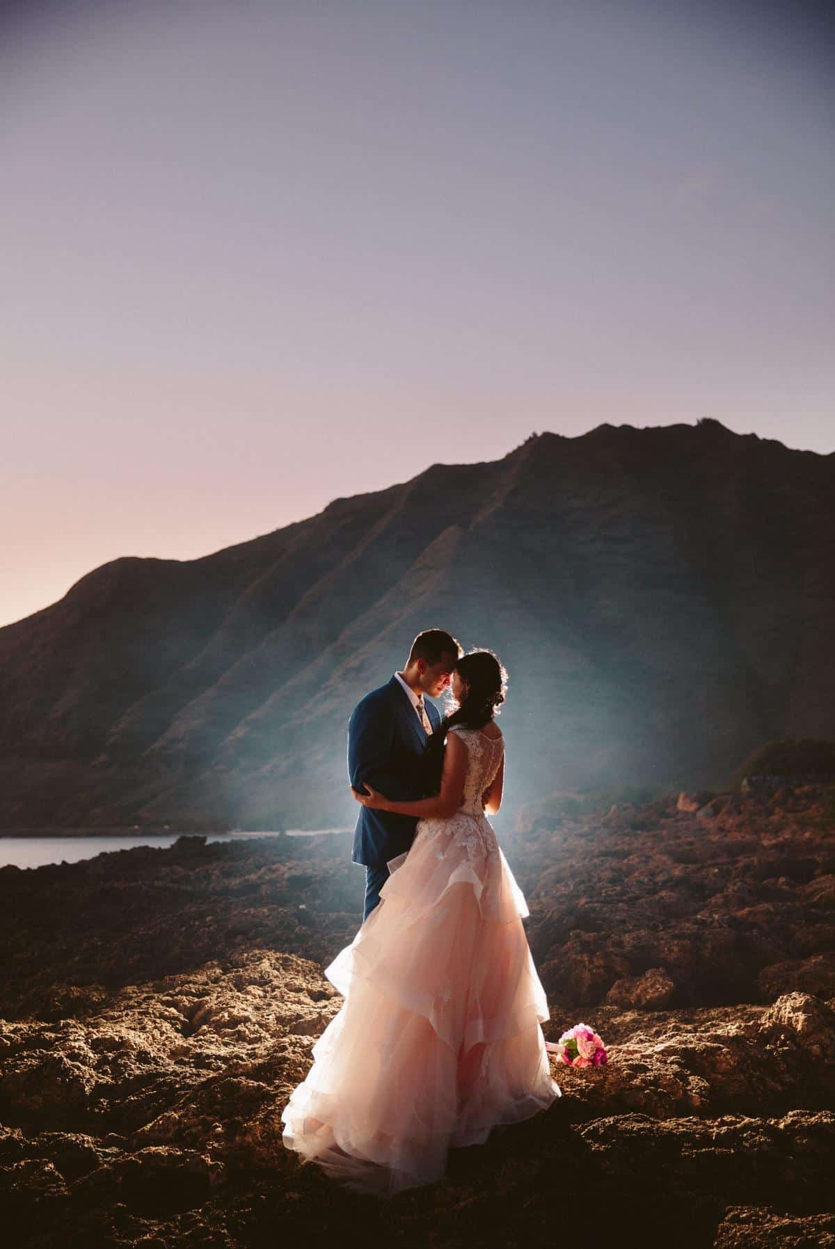 amazing sunset beach photo Oahu Hawaii Destination wedding photographer www.benandhopeweddings.com.au