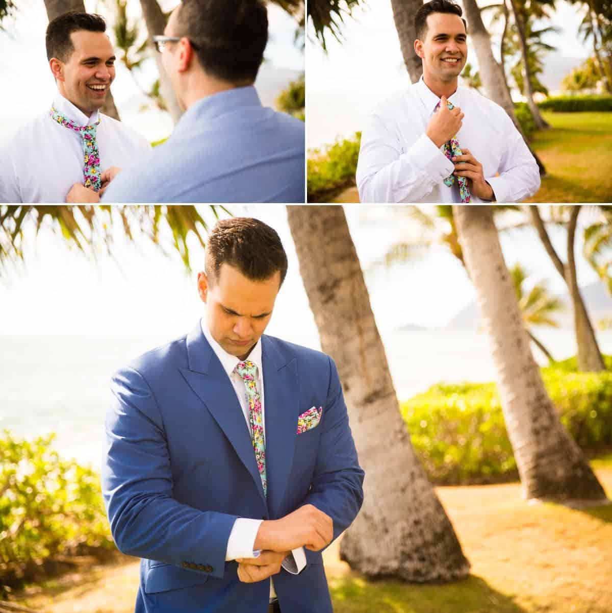 Groom getting ready for wedding Hawaii Destination wedding photographer www.benandhopeweddings.com.au