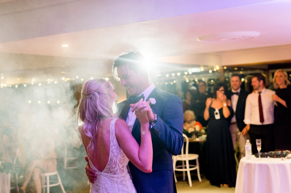 Maleny Manor Wedding photographer sunshine coast reception first dance smoke machine  when freddie met lily wedding dress