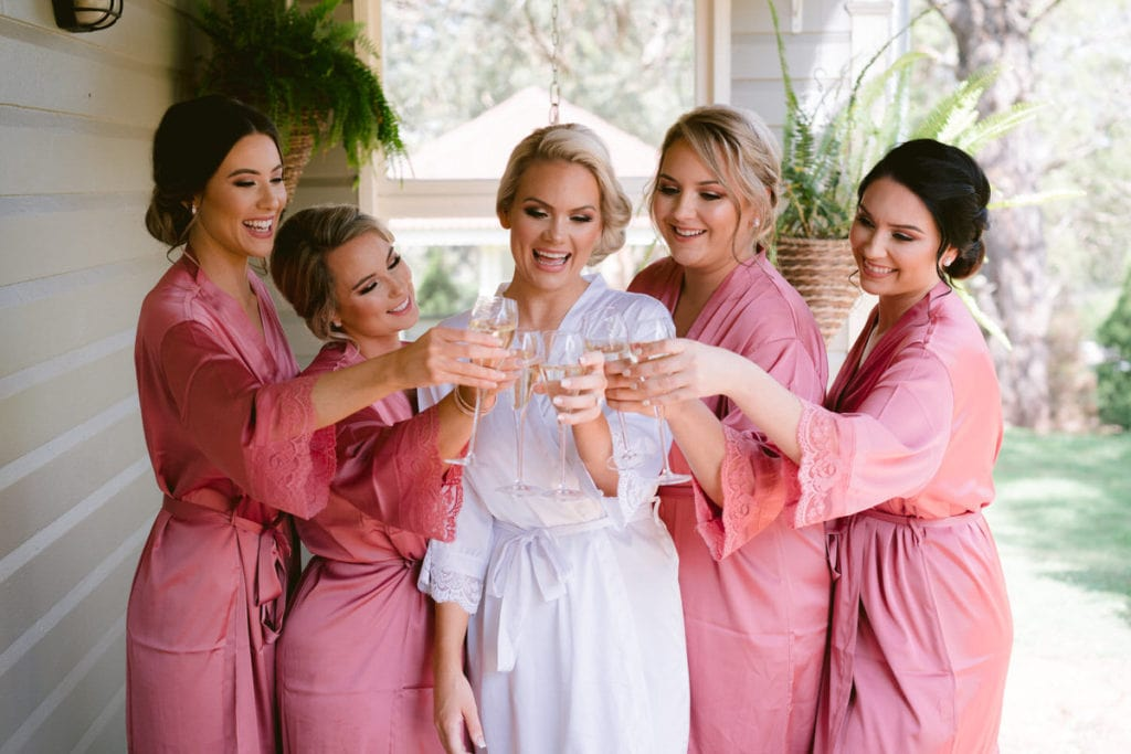 gabbinbar homestead wedding photographer country toowoomba bridal party bridesmaids toast