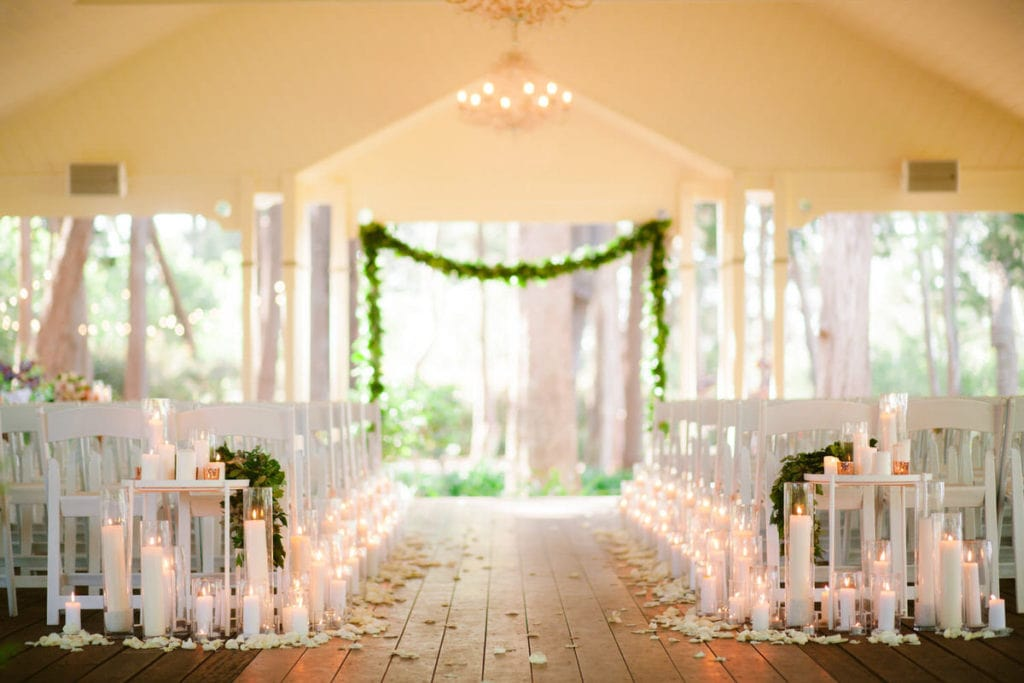 Gabbinbar Homestead wedding photographer ceremony venue candlelit aisle outdoor chapel