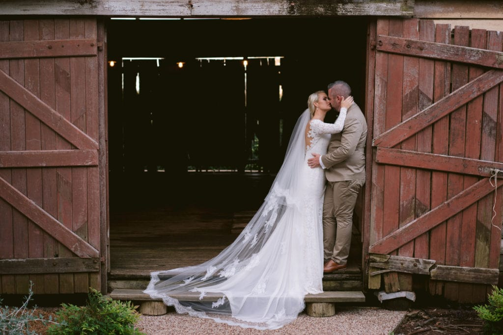 Gabbinbar Homestead wedding photographer country lace wedding dress barn